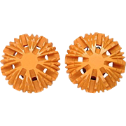 Deeply Carved Bakelite Clip Earrings