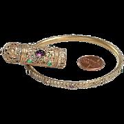 Gold Tone Bangle Bracelet, Matching Lipstick Charm