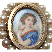 Victorian Brooch: PAINTED PORTRAIT, Pinchbeck bezel, cultured pearls - c. 1875