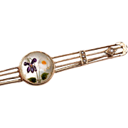 Edwardian 12kt Gold Bar Pin:  Reverse Painted Crystal, Cultured Seed Pearls