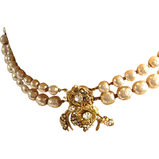 Signed Haskell Pearl Necklace with a Bug Clasp