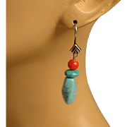Native American Turquoise, Coral Earrings
