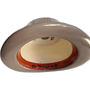 Made in England - Advertising Ceramic Hat:  Fr. Tripler & Co. - Madison Avenue, New York - Leader in fashion since 1925