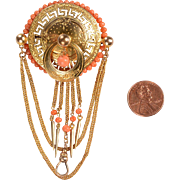 Victorian Gold Filled Watch and Locket Brooch
