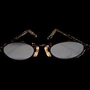 Vintage Metal Frame, Blue Glass Eye Glasses