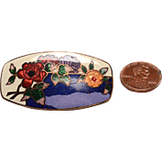 Unusual Vintage Czech Cloisonne Brooch: enamel and bright FOIL on copper