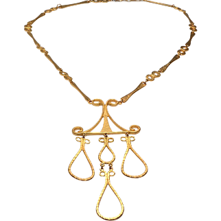 Mid Century Gold Tone Sculptural Necklace