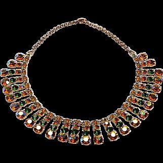 Aurora Crystal 15 inch Necklace 1950's