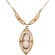 14kt Tri-Color Gold Cameo Necklace with Pendant