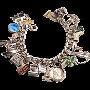 All Sterling 1950's Charm Bracelet