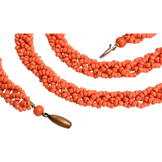 Victorian Coral Bead Crochet Necklace