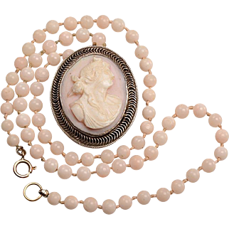 Coral Bead Necklace with Matching Cameo Pendant