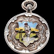 Hallmarked Silver Charm: Cricket Prize 1928