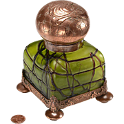 RESERVED Art Nouveau Inkwell: Blown Glass, Copper