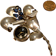 Retro Sterling Silver, 17 jewel Lapel Watch Brooch: