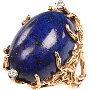 Handmade 14kt, Diamonds, Lapis Mid Century Ring