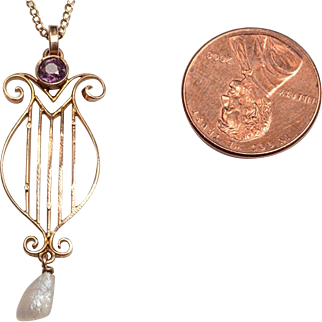 """Edwardian 10kt Lavaliere on 14kt Chain: 18"""" Chain - Classical LYRE Design"""