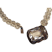 Deco Rock Crystal Bead, Sterling Necklace c.1930's