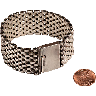 Mexican Sterling Silver Bracelet: Mesh Link Construction, 1960's