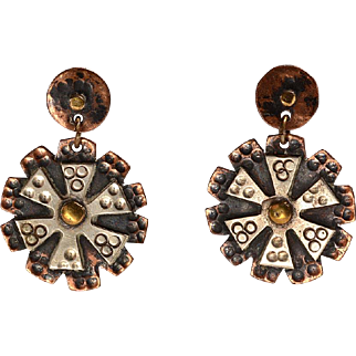 Mixed Metals Hand Hammered Earrings