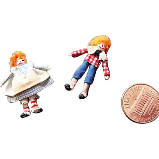 PAIR of 1920's Miniature Rag Dolls for your dollhouse: