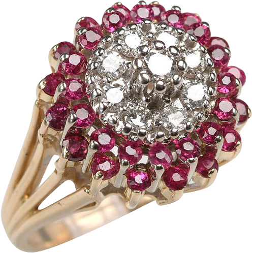 Vintage14kt Gold RUBY, DIAMOND Dome ring