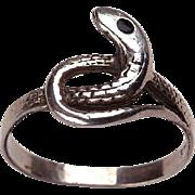 Signed 1960's Snake Ring: Sterling, Enamel