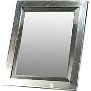 "English Silver Table Frame, Beveled Table Mirror: Hallmarked 1917 Birmingham - 6"" x 8"" approx."