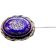 Gold and Cobalt enamel stickpin