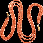 Victoria Triple Strand Coral Necklace