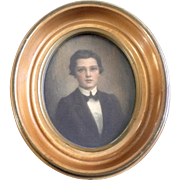 Small Portrait Of Young Boy, Man, Sepia Albumen Silver Print Watercolor Painting Enhanced With Rosy Cheeks