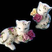 Royal Albert Old Country Roses Cat Salt & Pepper Shakers 1962 Figurines