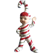 Geo Z Lefton Candy Cane Pixie Elf Christmas Vintage Figurine
