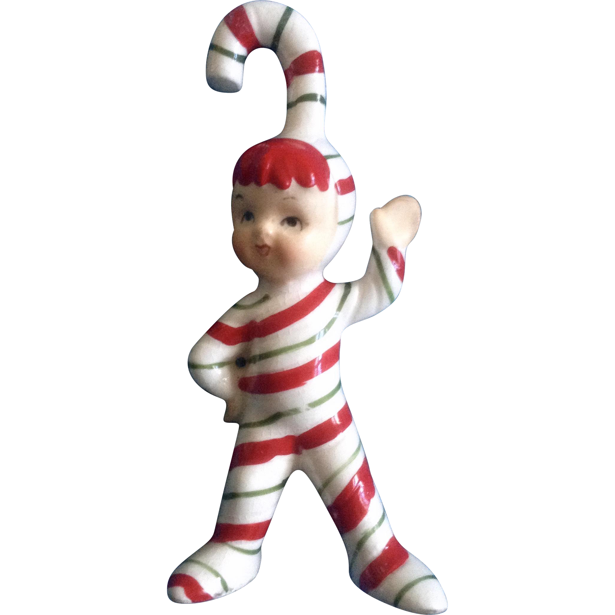 Geo z lefton candy cane pixie elf christmas vintage figurine from
