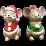 Josef Originals Salt & Pepper Christmas Mice Kissing Japan Vintage Mid-Century Figurines