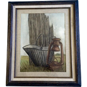 Old Coal Bucket and Lantern, Watercolor Painting, Symphony Art Show Crested Butte Colorado, Works on Paper