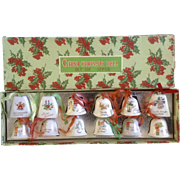 12 Christmas Bell Ornaments JAPAN Mid-Century Ceramic with Original Box