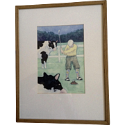 Jonathan Heath, Golf Pro The Cow Pie Play Though Original Watercolor Painting Works on Paper Signed by Artist