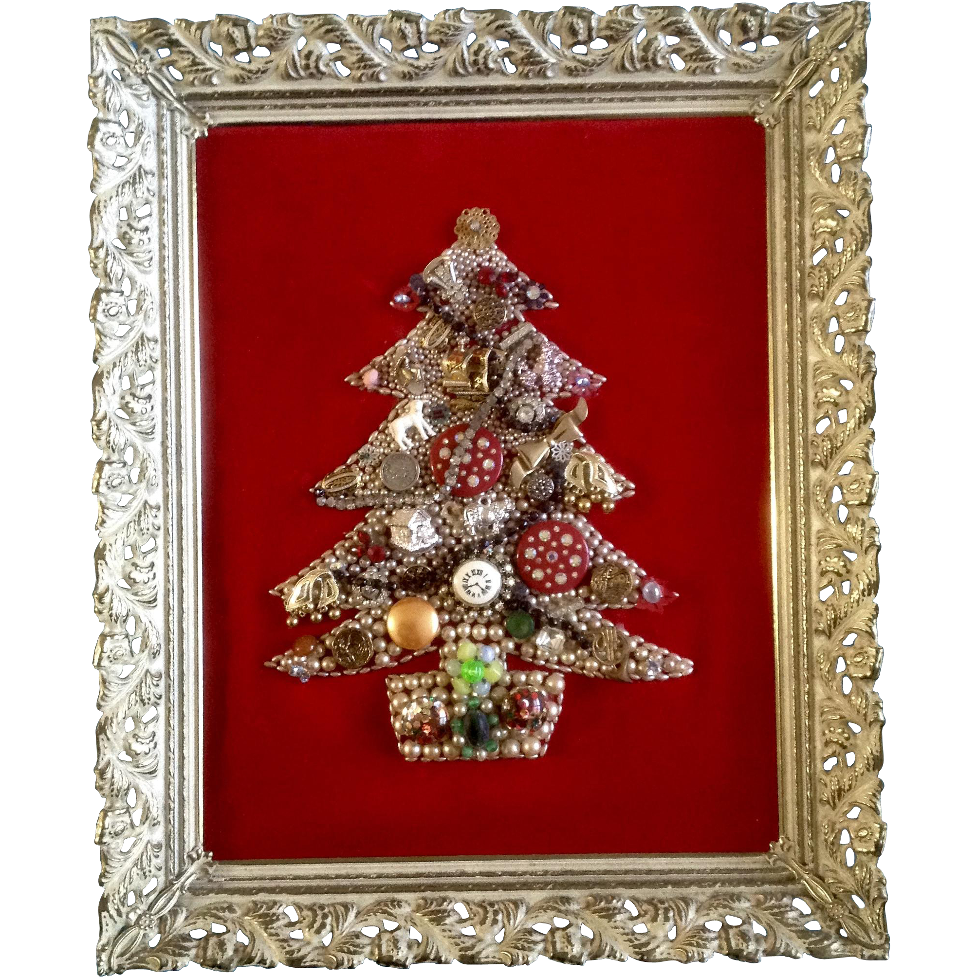 Costume Jewelry Christmas Tree Framed Picture Vintage Red Velvet ...