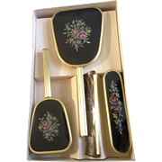 Vintage Vanity Set Brush Comb Mirror Clothes Brush Mid-Century NIB Floral Stitching Embroidered