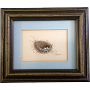 Estelle Pruitt Eggs in a Nest Miniature Watercolor Painting Works on Paper Signed By Texas Artist