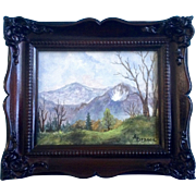 A. Denson, Mountain Landscape Oil Painting on Canvas Board Miniature Signed by Artist
