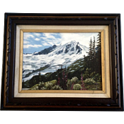 Leona Tjoelker Acrylic Painting Plein Air Mountain View of Mt Baker from Glacier Creek Road Painted on Canvas Board Signed by Washington Artist