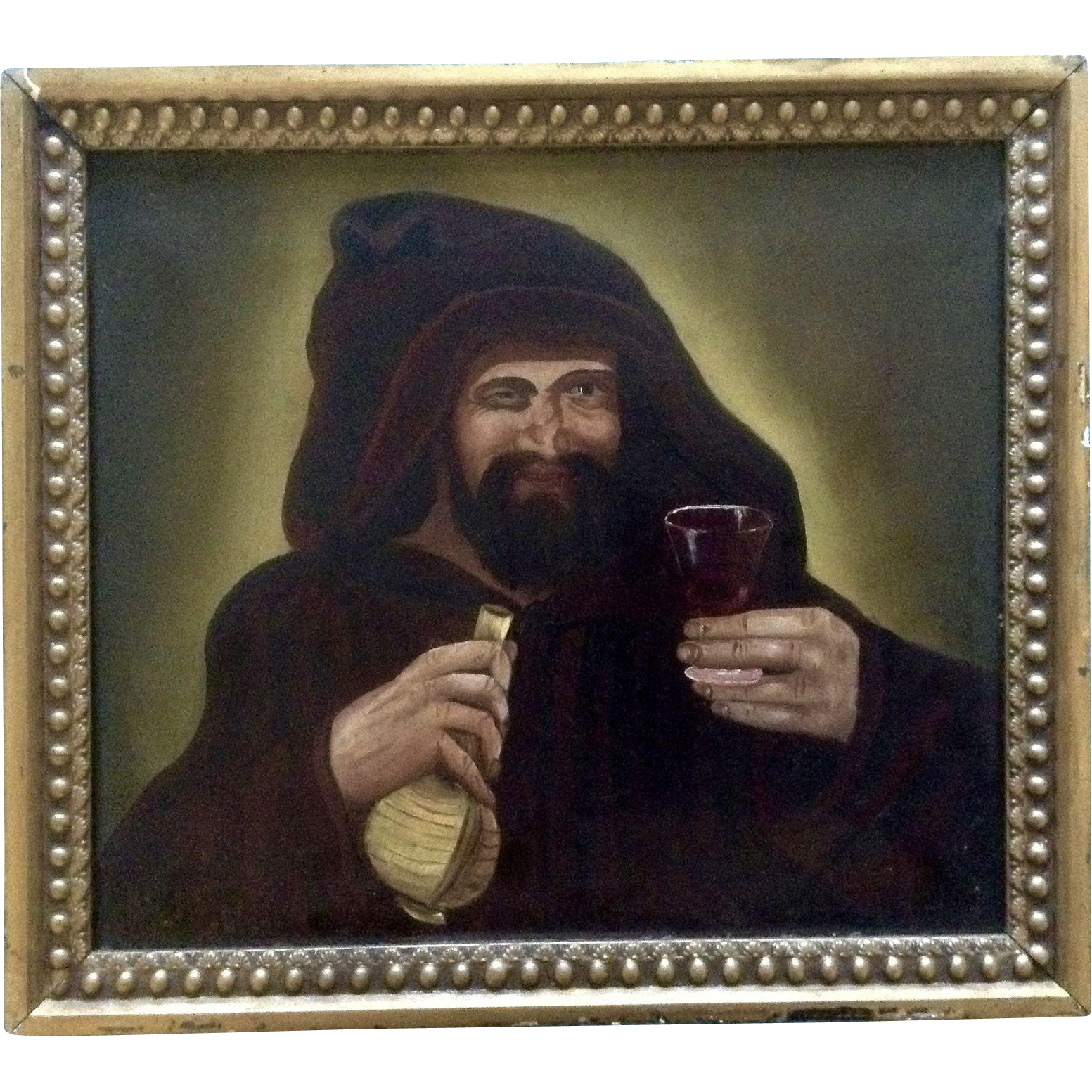 17th 18th century old masters antique figural oil painting for Painting while drinking wine