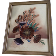Ida Bisek Prokop (1902 - 1990) Prairie Picture Folk Art Floral Display of Wildflowers, Feather Flower and Airbrush Watercolor Painting Mixed Media Signed by Artist
