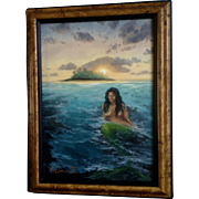 Edgardo Garcia II, Oil Painting Nude Mermaid With Sunset, Painted on Canvas Board, Signed by Artist