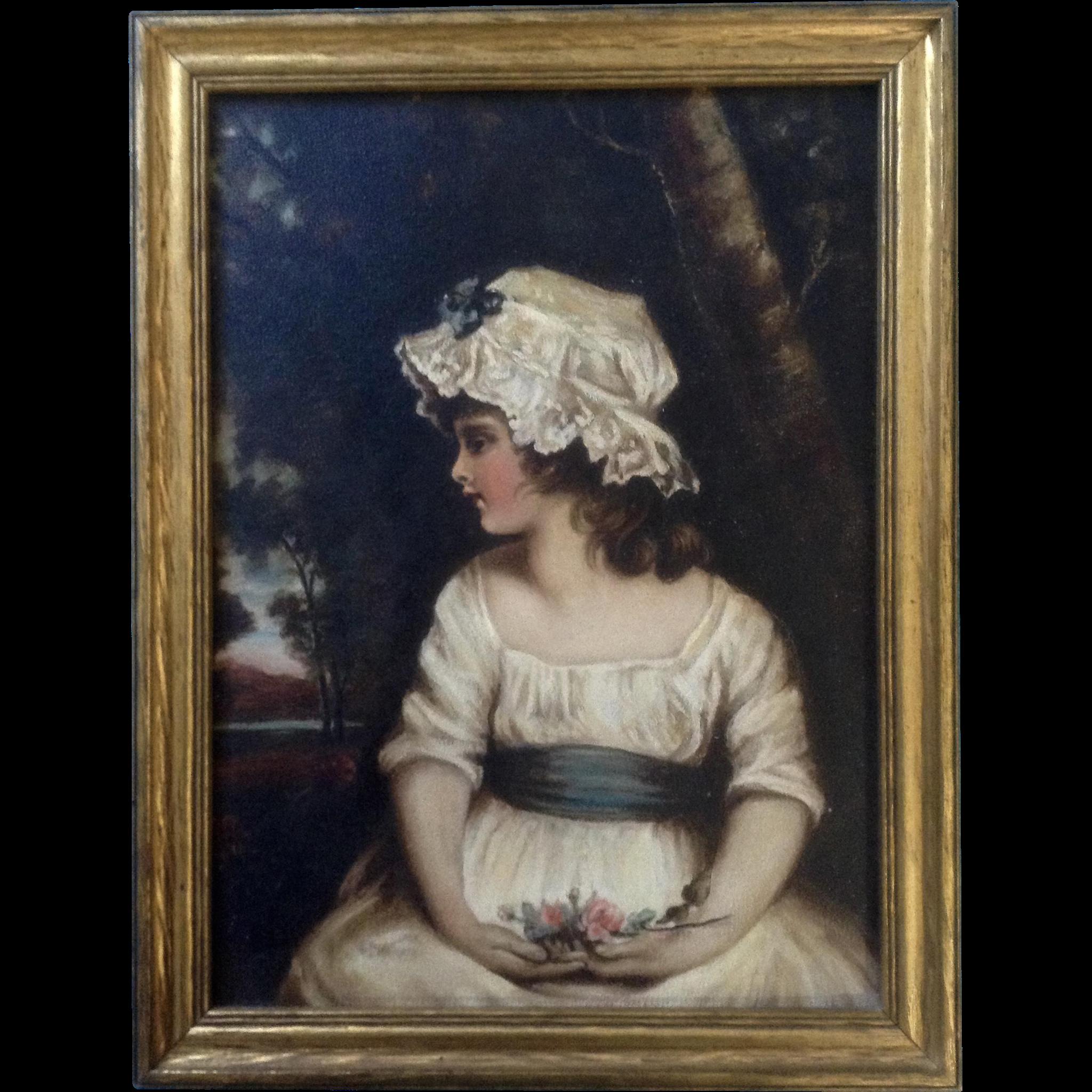 After Joshua Reynolds Girl In Bonnet Oil Painting On Board