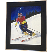 Terri McDonald, Snow Skiing Downhill Slalom Racer, Acrylic Painting Works on Paper Signed by Artist