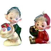 Josef Originals Elf Pixie Set with Hair Christmas Wreath and Stocking with Presents Japan Figurines