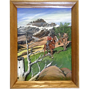 K Rod, Acrylic Painting, Cowboy on His Horse in the High Country, Painted on Canvas Board Signed by Artist